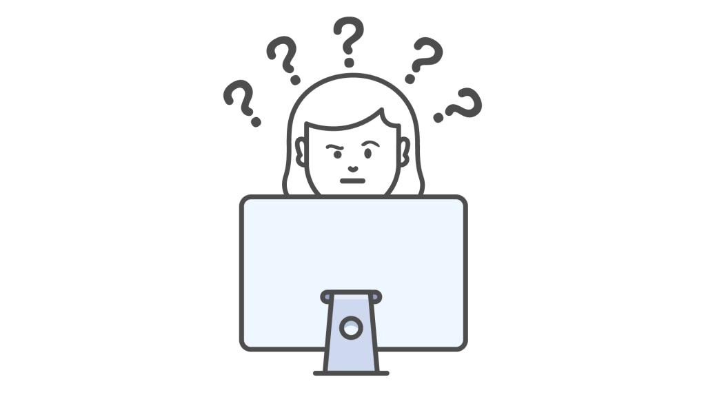 Personne derrière un écran d'ordinateur. Autour de sa tête, 5 points d'interrogation.
